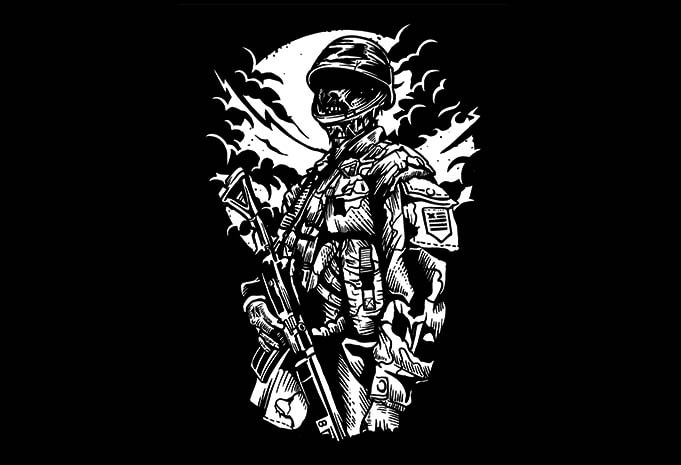 T Shirt Design Line Art : Zombie soldier t shirt design buy designs