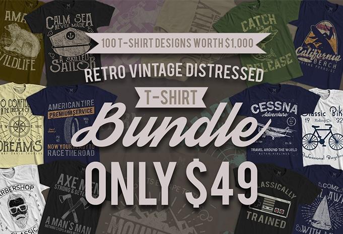 100 TSHIRT BUNDLE AD 2 - 100 Retro Vintage T-Shirt Designs buy t shirt design