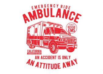 Ambulance vector t shirt design