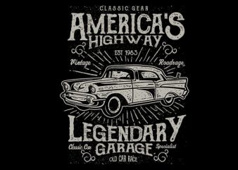 Americas Highway vector t shirt design