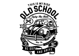 Old School Ride vector t-shirt design for commercial use