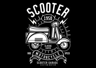 Scooter print ready vector t shirt design