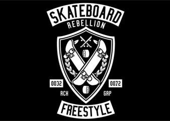 Skateboard Rebellion tshirt design for sale