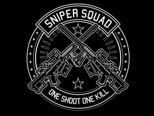Sniper Squad t shirt template vector