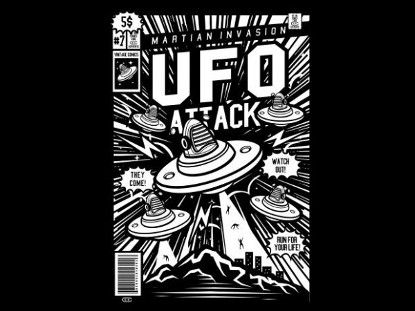 Ufo Attack t shirt vector graphic