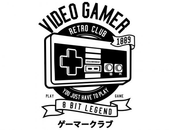 Video Gamer buy t shirt design for commercial use