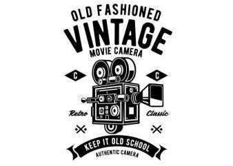 Vintage Movie Camera tshirt design vector