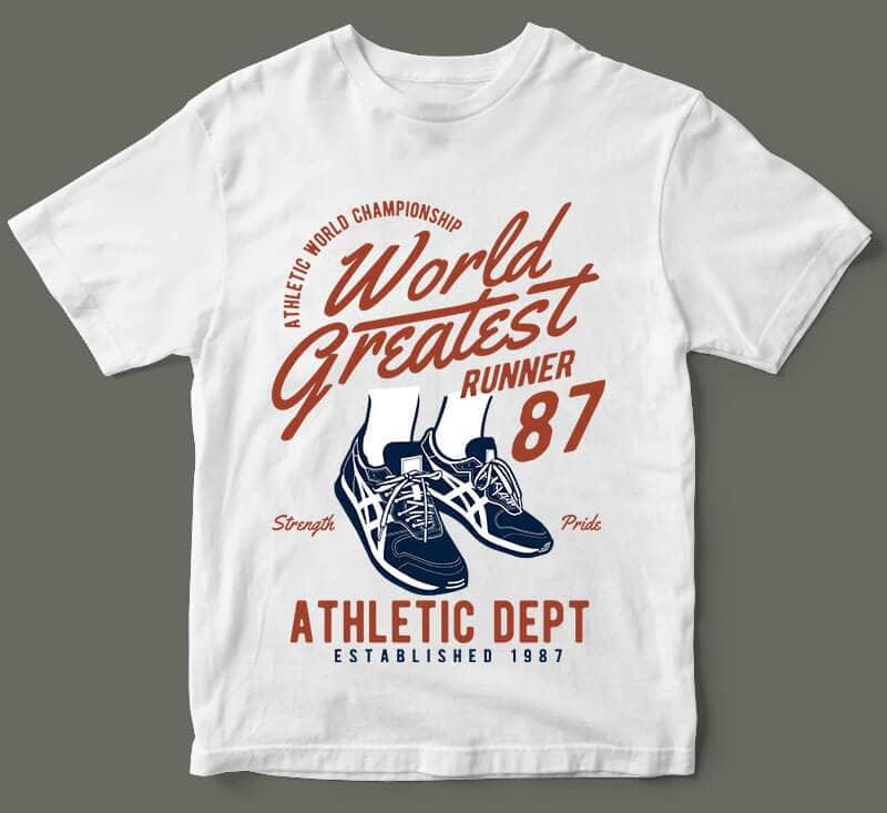 World Greatest Runner t shirt designs for printful