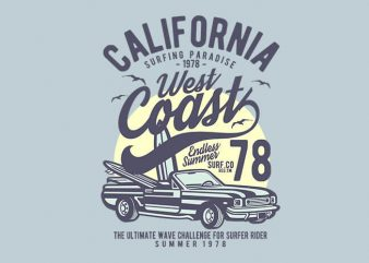 California West Coast t shirt design