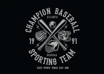 Champion Baseball t shirt design