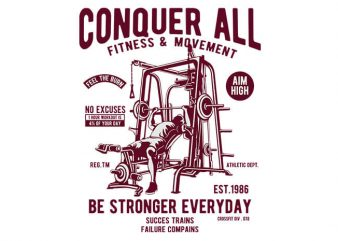 Conquer All tshirt design vector