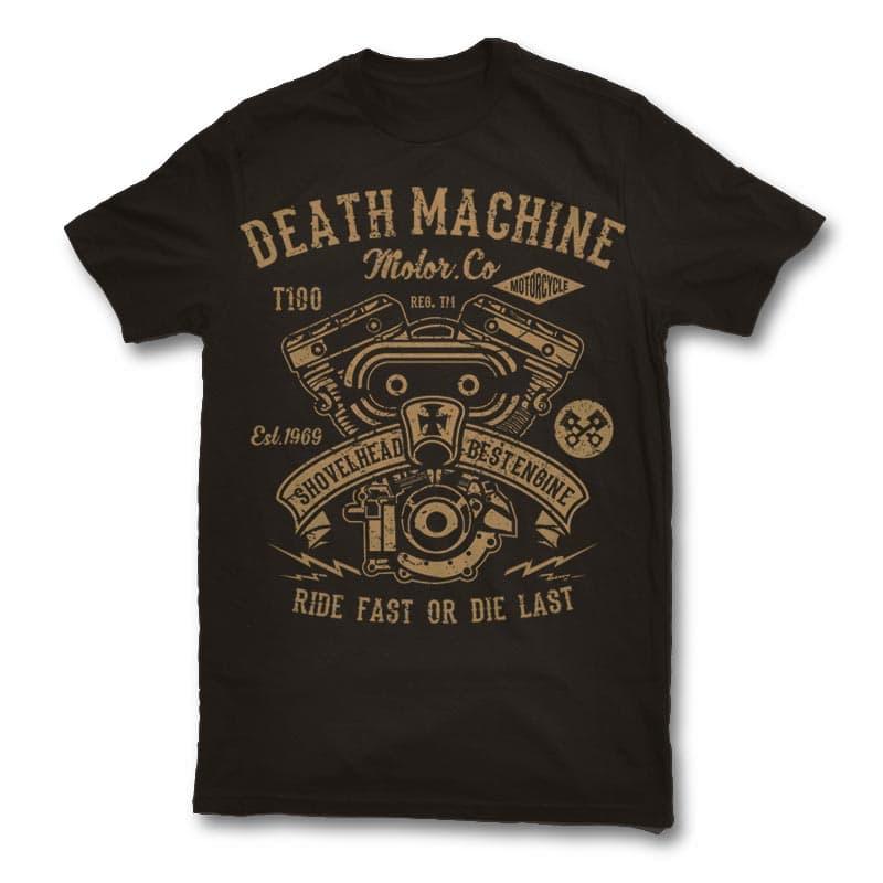 Death Machine t shirt design t-shirt designs for merch by amazon