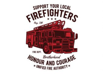 Fire Fighters Truck t shirt design