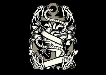 Heart and anchor t shirt design