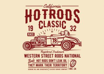 Hot Rods Race Classic t shirt design