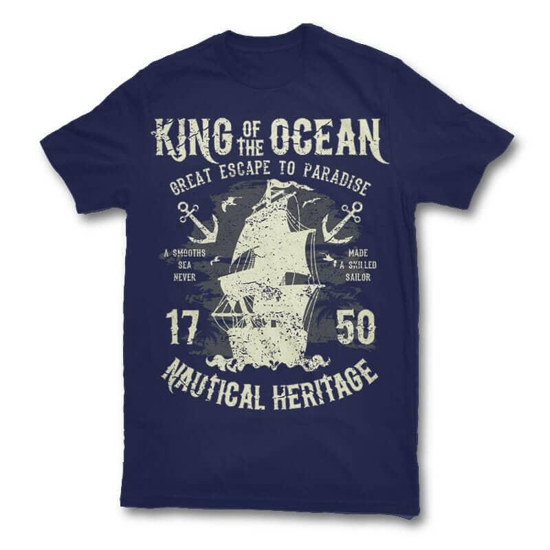 King Of The Ocean t shirt design t shirt designs for print on demand