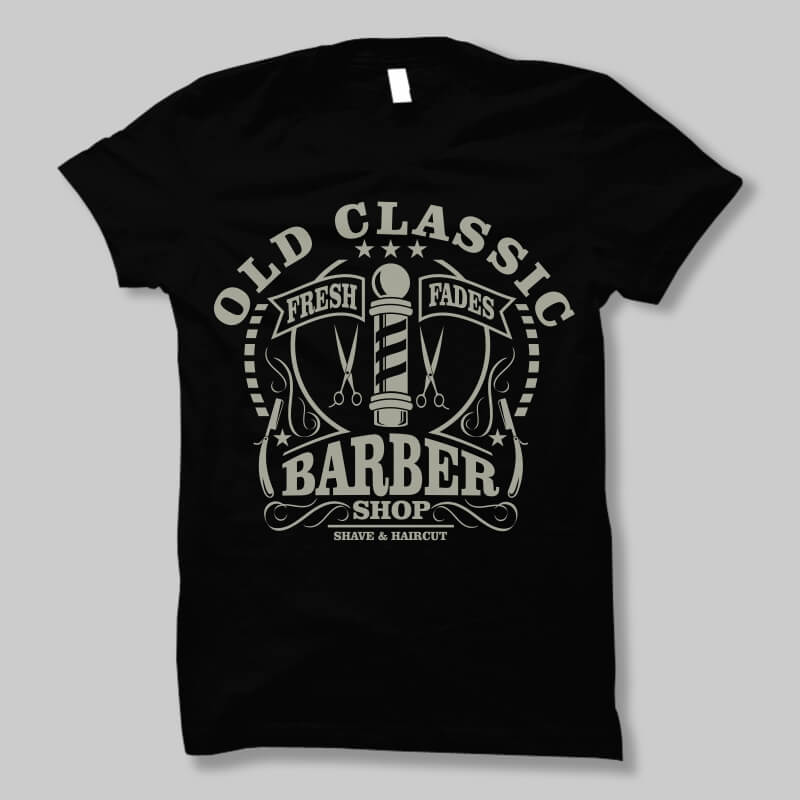 Old classic barber t shirt design buy t shirt designs for Buy t shirt designs online