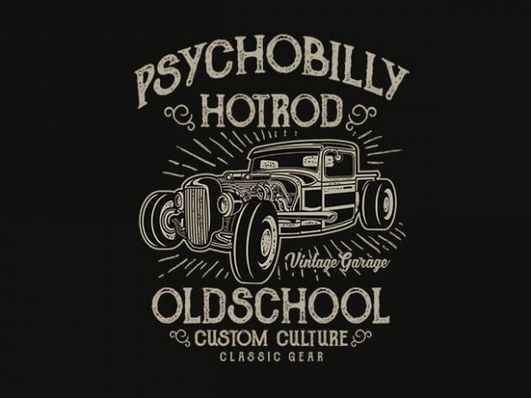 Psychobilly Hotrod t shirt design