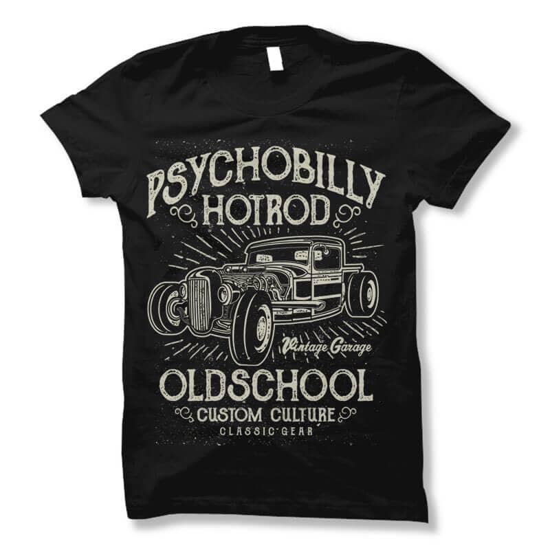 Psychobilly Hotrod t shirt design t shirt designs for sale