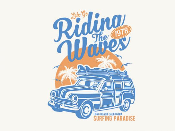 Riding The Waves t-shirt design