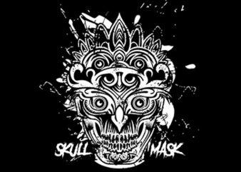 Skull Mask Ornaments t shirt template vector