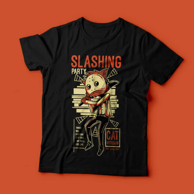 Slashing Party 4 vector shirt designs