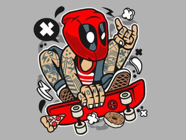 Deadpool Skater print ready shirt design