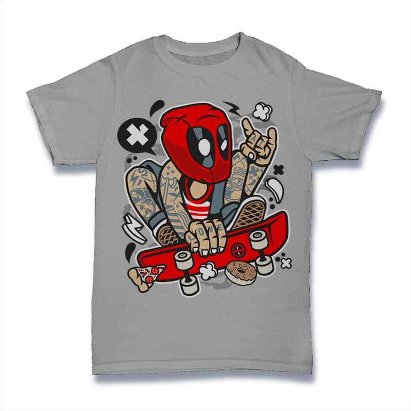 Deadpool Skater tshirt design for merch by amazon