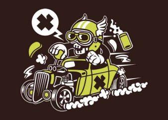Hot Rod Skull design for t shirt