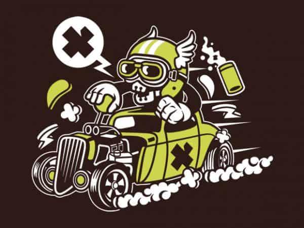 Hot Rod Skull graphic t shirt