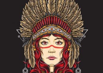 Native Girl t shirt design for sale