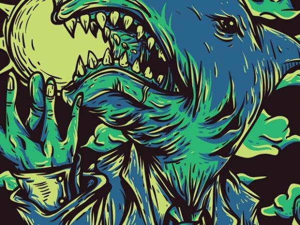 Shark City t shirt template vector