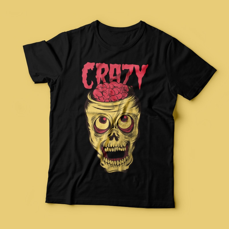 Crazy Skull vector t shirt design