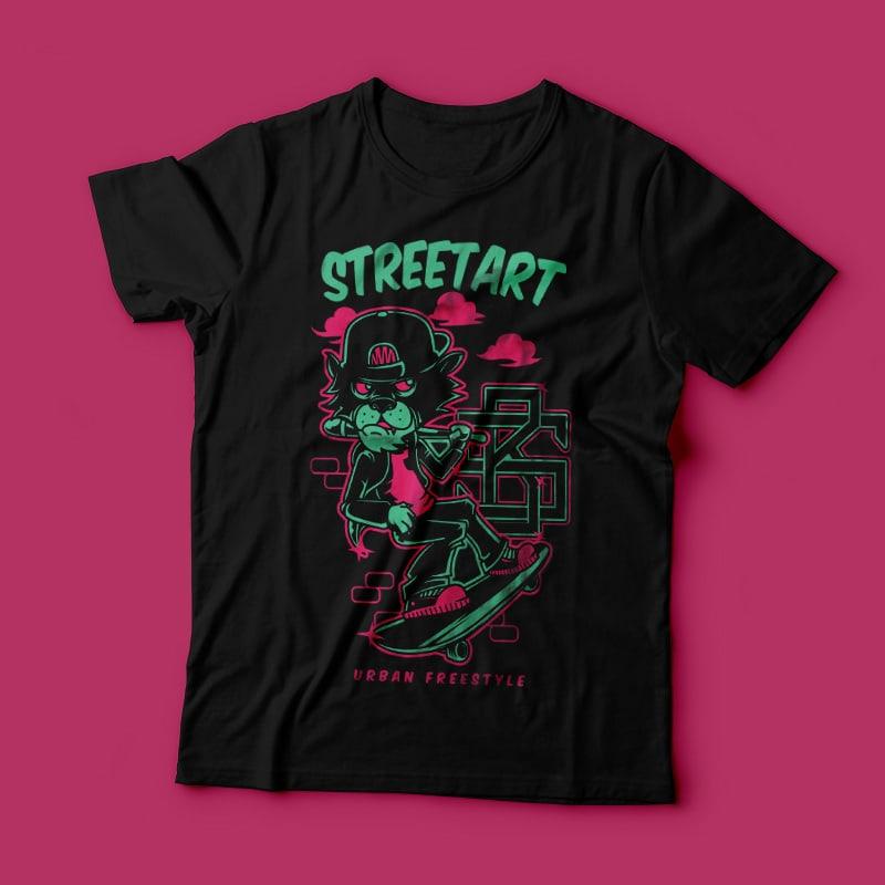 Streetart Skate vector shirt designs