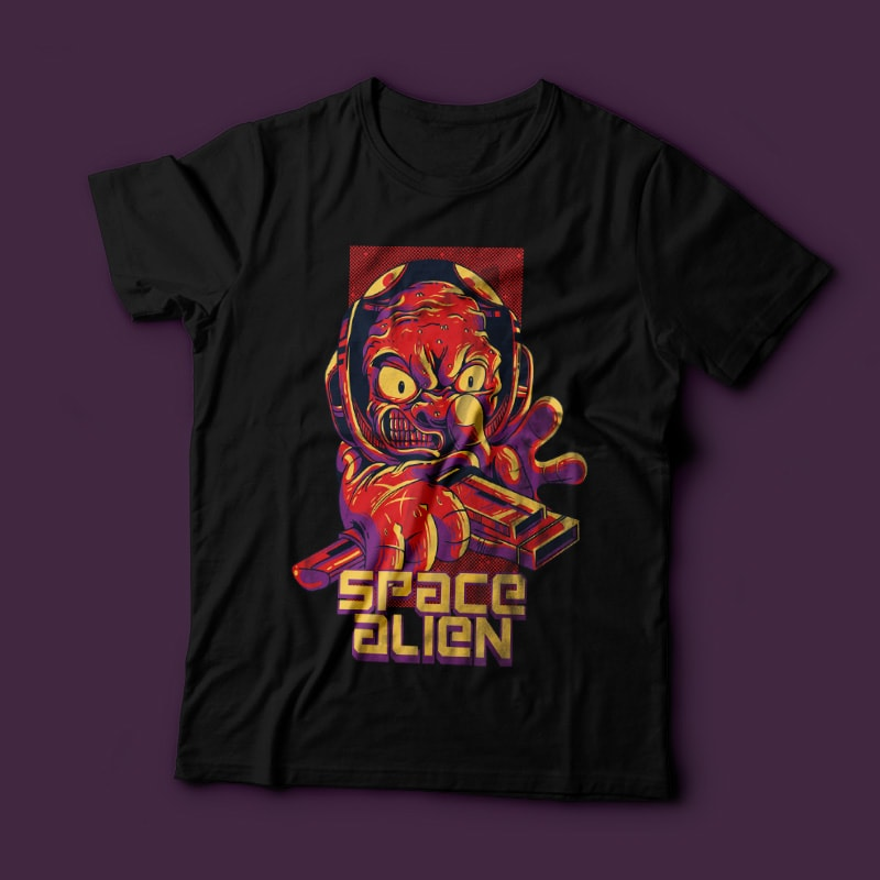 Space Alien t-shirt designs for merch by amazon