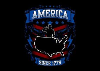 America Since 1776 t shirt vector