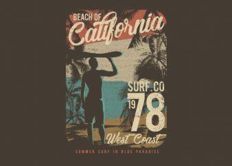 Beach Of California t shirt template