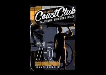 Coast Club California Surfrider vector t-shirt design for commercial use