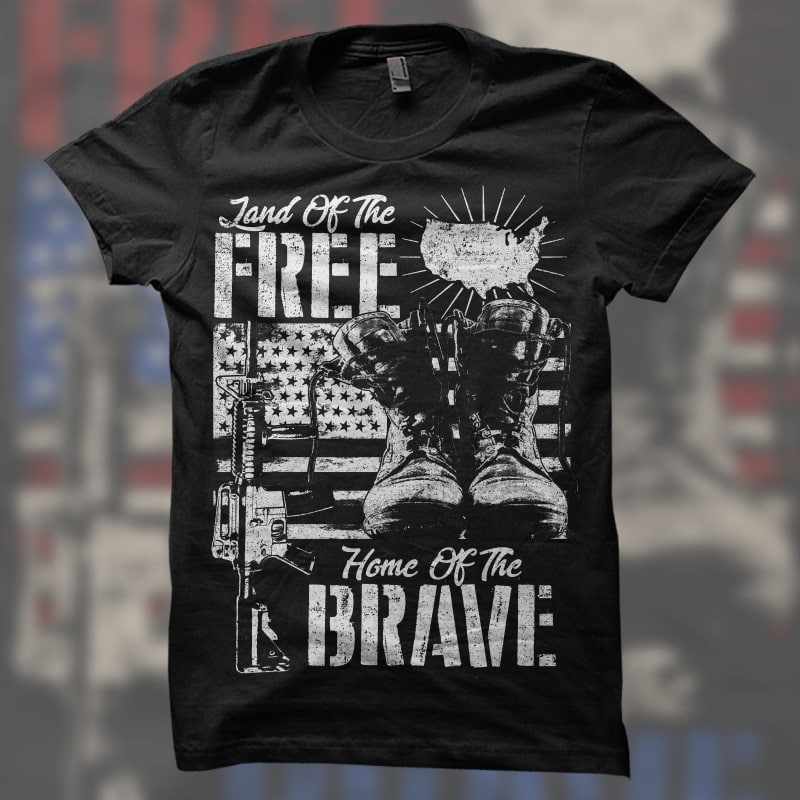 Land Free, Home Brave t shirt designs for print on demand