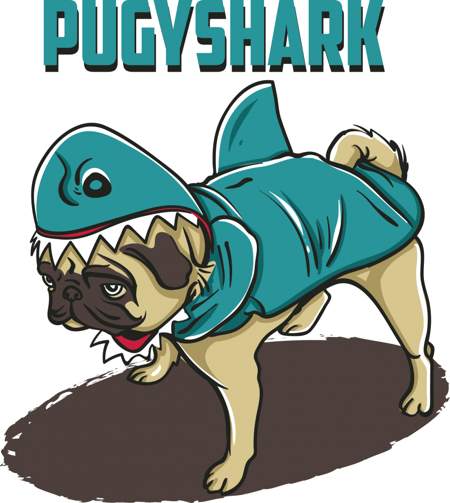 Pugyshark t-shirt designs for merch by amazon