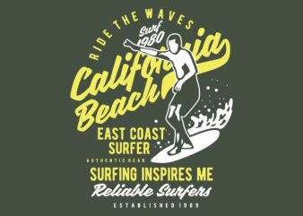 Ride The Waves in California Beach t shirt design online