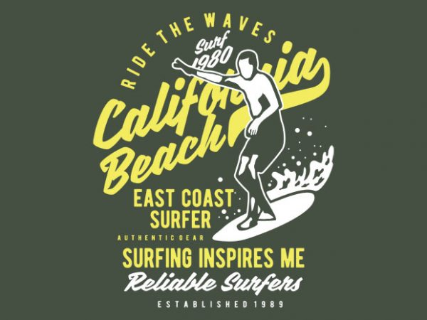 Ride The Waves in California Beach t shirt design online
