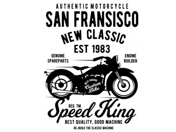 San Fransisco Motorcycle t shirt template vector