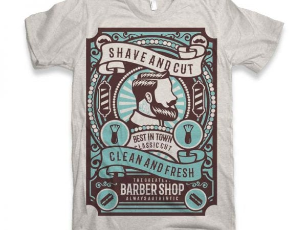 Shave and Cut Graphic tee design