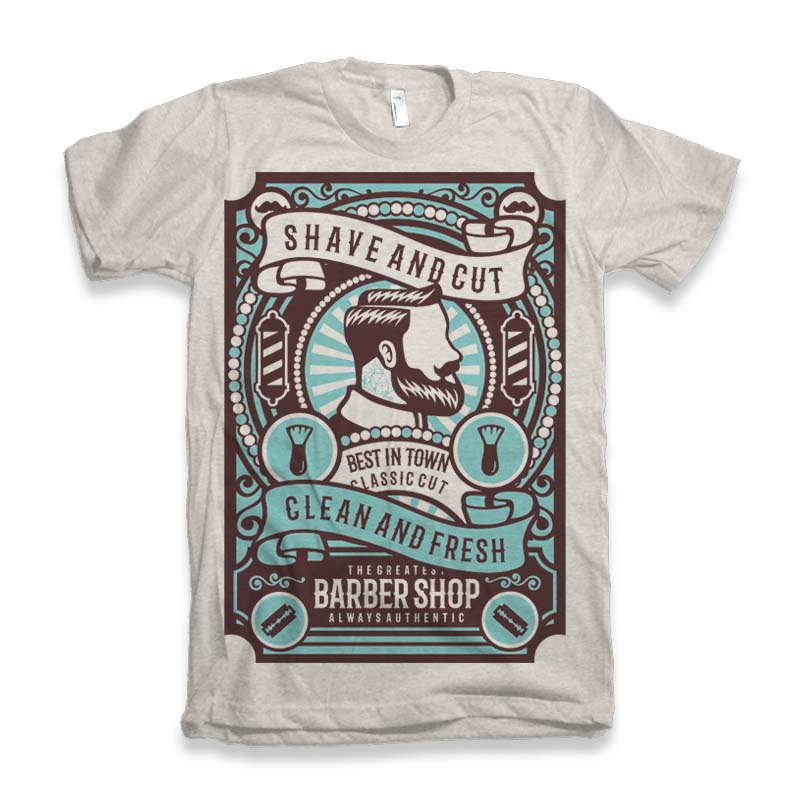Shave and Cut Graphic tee design tshirt-factory.com