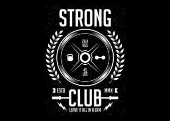 Strong Club vector t-shirt design template