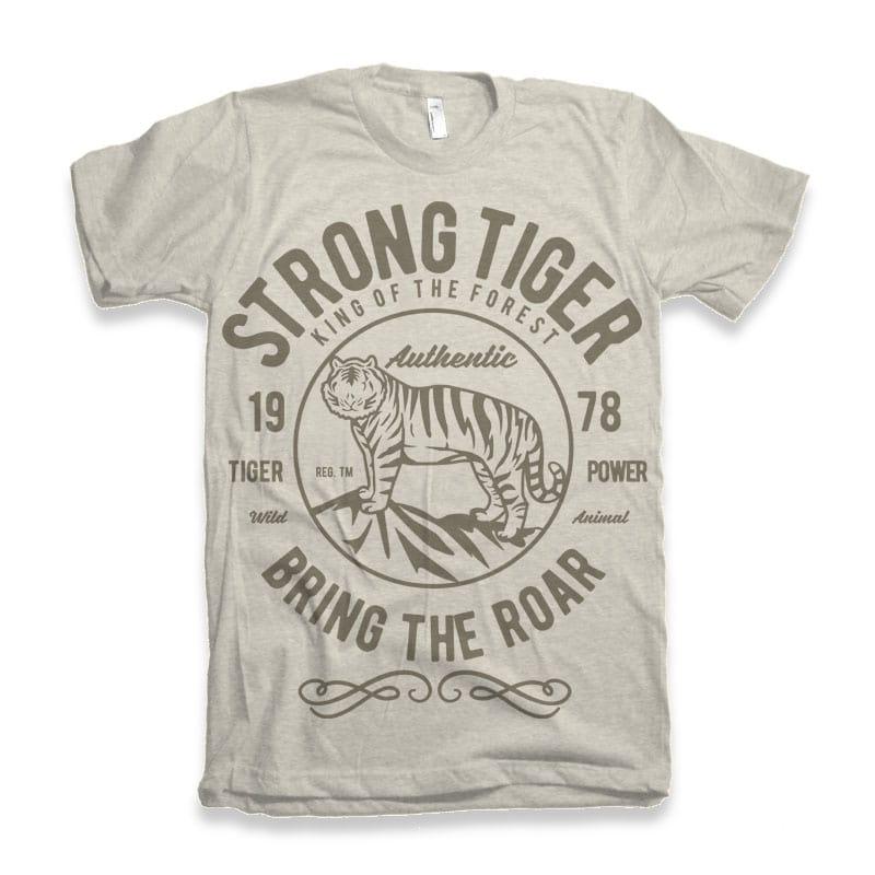 Strong Tiger vector tshirt design t shirt designs for printful