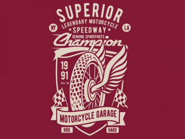 Superior Motorcycle Garage t shirt template vector