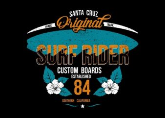 Surf Rider design for t shirt