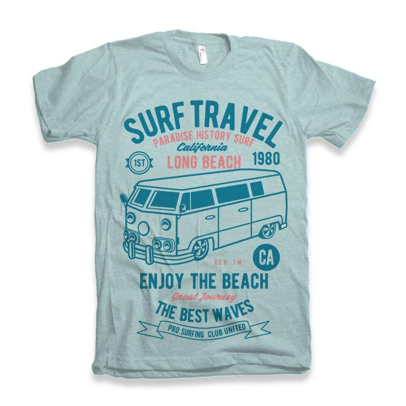 Surf Travel tshirt design commercial use t shirt designs